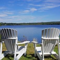 Just steps from town, with breathtaking views of Haley Pond.
