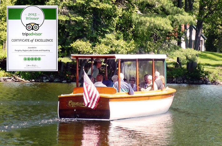 Rangeley Lake Cruises TripAdvisor Certificate of Excellence